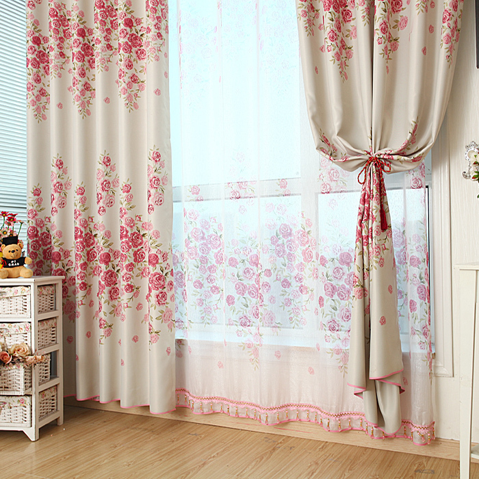 ... Custom Size Beautiful Red Rose Curtain Blackout Curtains Finished  Custom Living Room Bedroom Frees Hipping ...