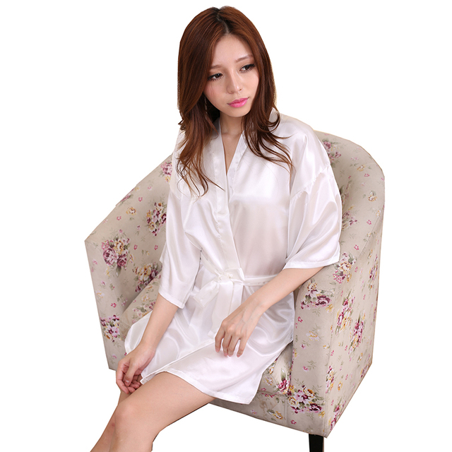 5709329ceb 2016 Silk Kimono Robes Women Satin Bathrobe Short Silk Robes For  Bridesmaids Longue Femme Women Dressing Gown Bridesmaid Robe