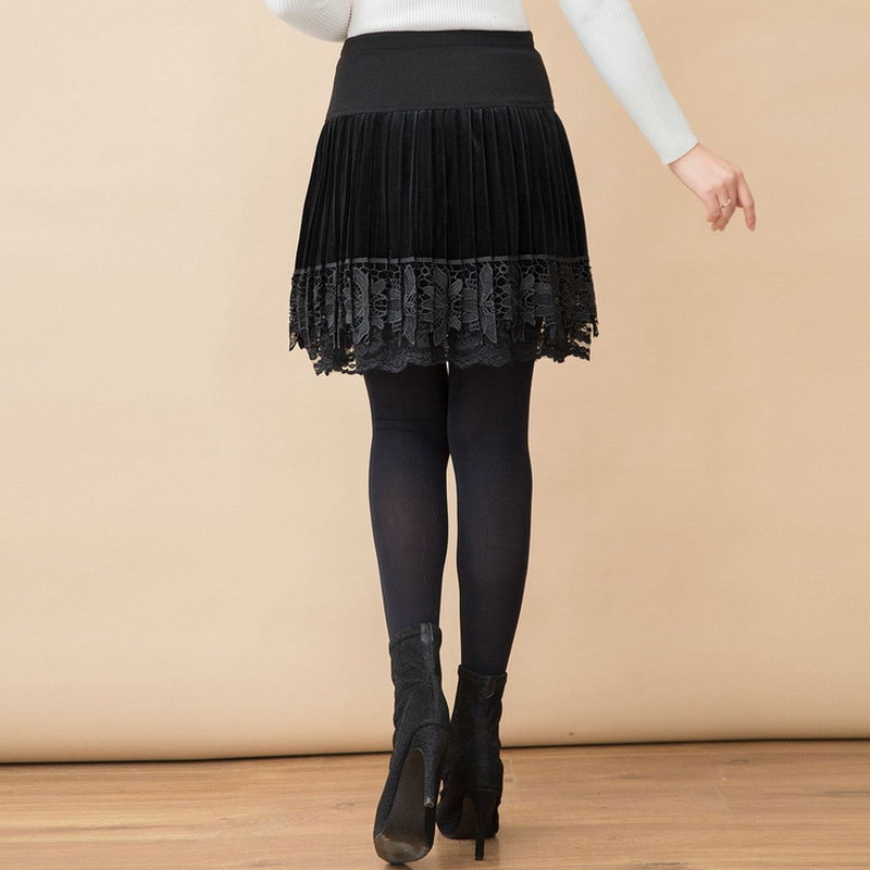 WAEOLSA Women Velvet Pleated Skirts Black Pleuche Faldas Woman Elastic Band High Waist Skirt Layered Crochet Lace Hem Skirts in Skirts from Women 39 s Clothing