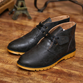 Fashion Leather Men's casual Flat Lace-up Breathable Business Shoes tide male boots short boots men winter British tide shoes