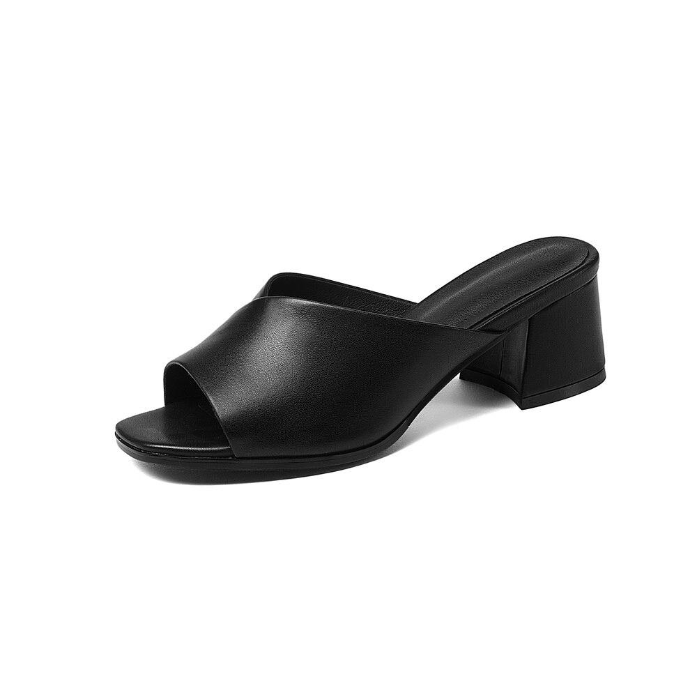 Cuadrado Tacón negro Tamaño De Señoras Negro 41 Asumer Resbalón Nueva Zapatos Genuino Beige Sólido Sandalias Beige Simple 34 En Moda Cuero Verano Las gBqd7Pxn