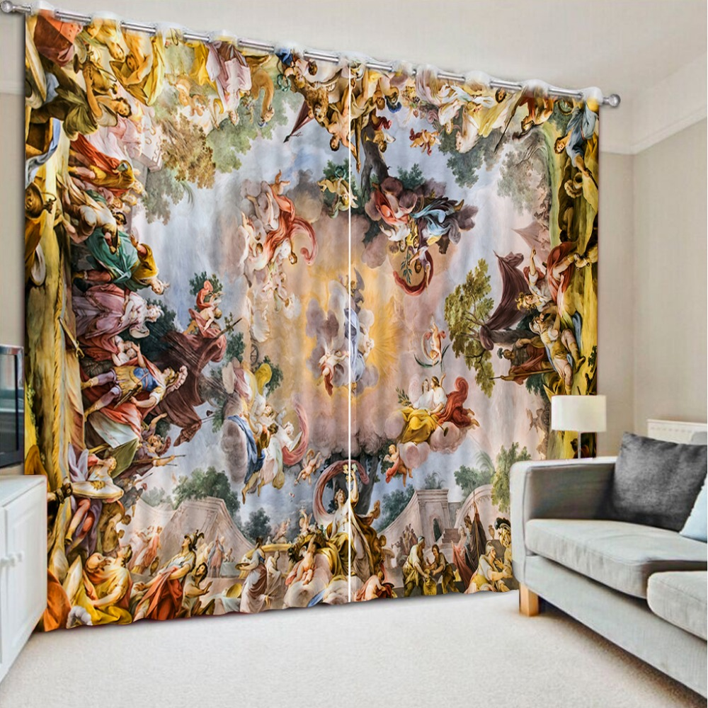 Europe style angels curtains for beddiing room 3d curtains home decorationEurope style angels curtains for beddiing room 3d curtains home decoration