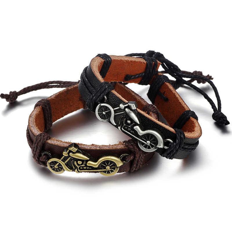 57eaa0704fd0 Biker pulsera brazalete tejido Retro Vintage pulseras de cuero para hombre