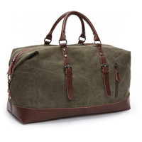 Ocardian Brand Leather Canvas Men Travel Bags Luggage Bags Men Duffel Bags Travel Tote Large Weekend