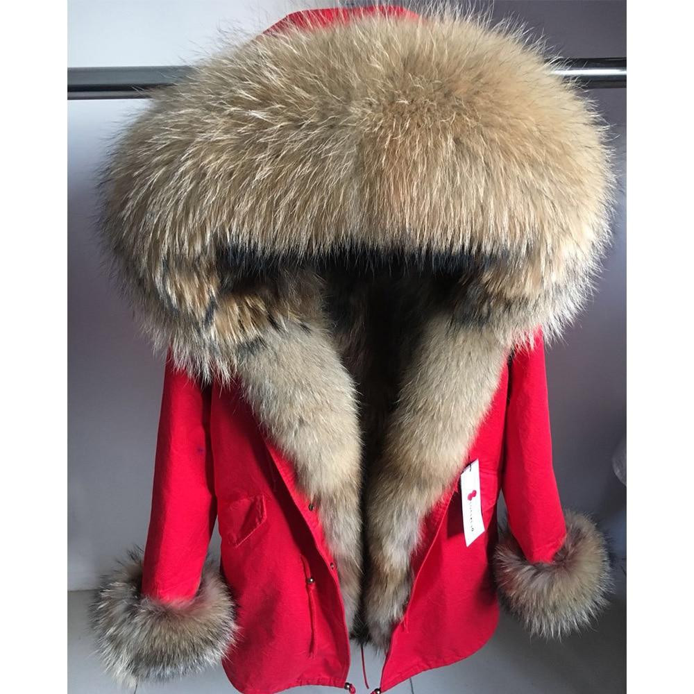 maomaokong Real Fox Fur Coat Winter Jacket Women Long Parka Natural Raccoon Fur Collar Hood Thick