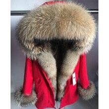 maomaokong Real Fox Fur Coat Winter Jacket Women Long Parka Natural Raccoon Fur Collar Hood Thick Warm Real Fur Liner Parkas