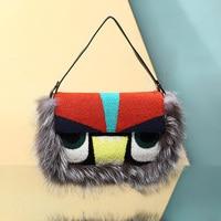 Luxry Real Fox Fur Women Messenger Bags Raccoon Shoulder Bag Monster Clutch Purses Handbags Party Envelope Wool Bolsos Mujer
