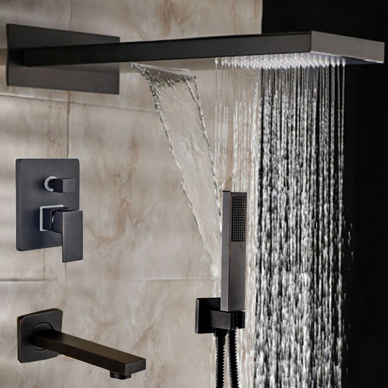 Wholesale And Retail New 3 Ways Oil Rubbed Bronze Shower Faucet Bathtub Mixer Tap W/ Handheld Shower Waterfall Rainfall
