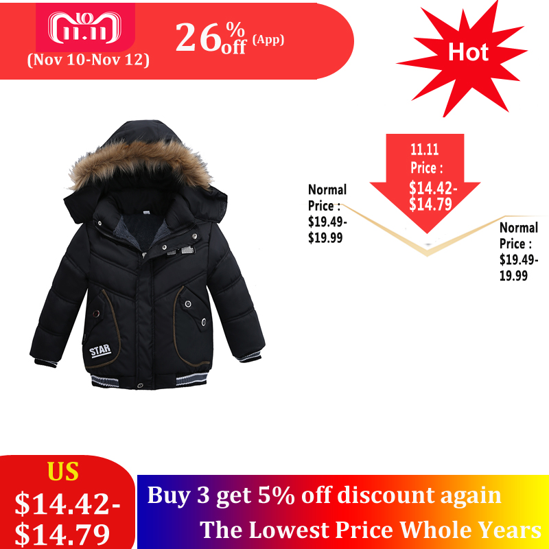 SAILEROAD 2-4Year New Boys Winter Coats Warm Casual Fashion Children Hooded Outerwear Boys Down Jacket Cotton Warm Coat цена