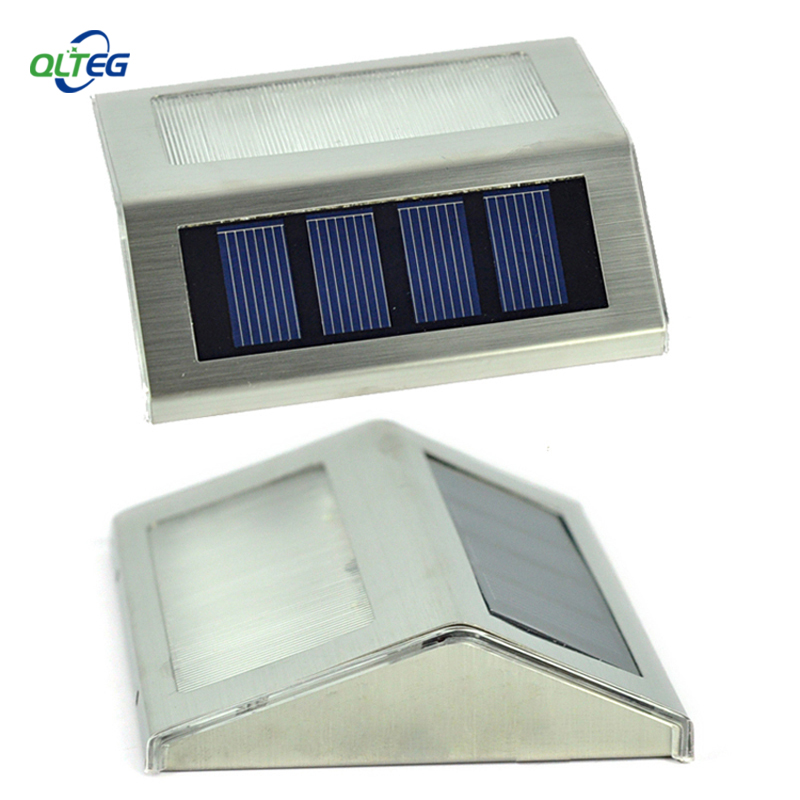 Solar Power  LEDs Outdoor Waterproof Garden Pathway Stairs Lamp Light Energy Saving LED Solar Wall Lamps Warm White Cold White