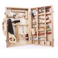 Children Wooden Garden Tool Pretend Toy/ Kids Carpenter's Box Real Life Tools Set Wooden Hammer Screwdriver Boy's Birthday Gift