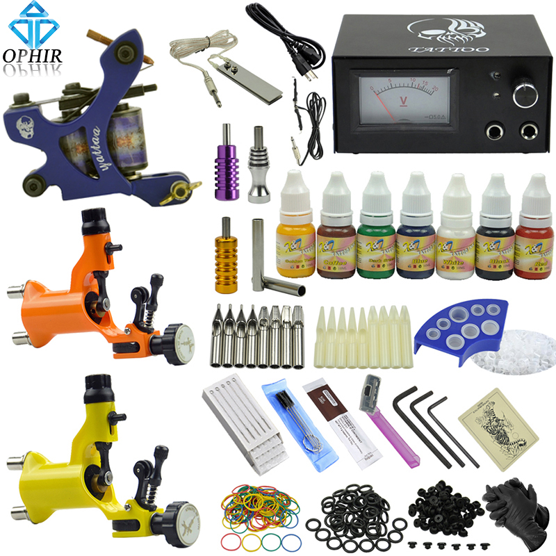 OPHIR Tattoo Complete Kit 3pcs Pro Tattoo Guns & 7 Colors Tattoo Inks Needle &Nozzle Set for Body Tattoo _TA077