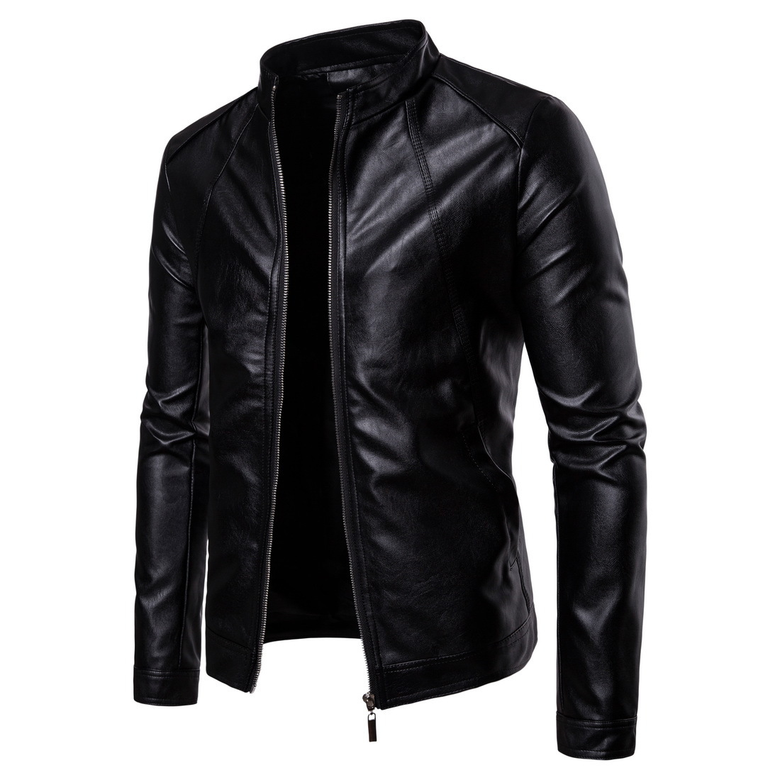 Fall 2019 new collar male locomotive leather fashion pure color washed PU leather jacket мужские кожанные куртки с косой молнией