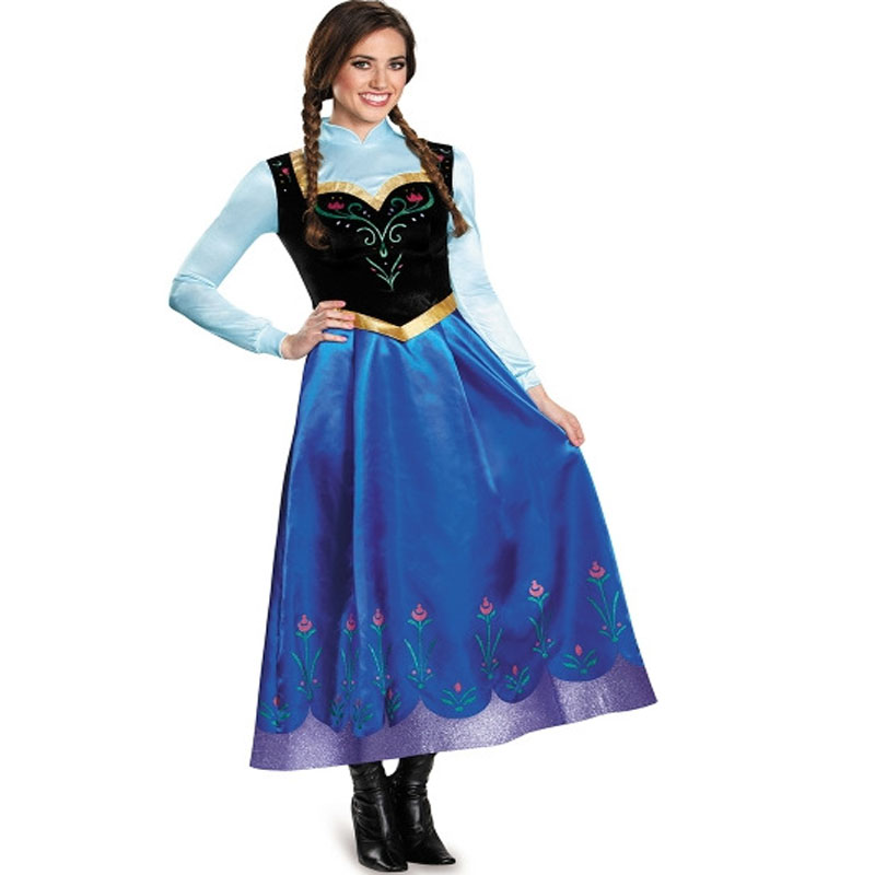 Free shipping adult FROZEN Dress Halloween cosplay role playing stage performance Anna Princess cosplay long Dress for women