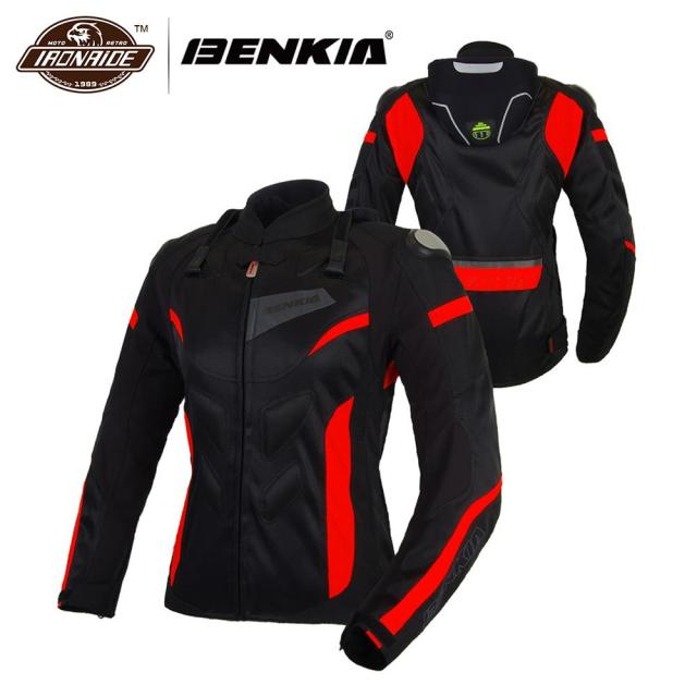 BENKIA Motorcycle Jackets Women Motocross Jacket Protective Gear Racing Breathable Windproof Moto Jacket For Spring Summer