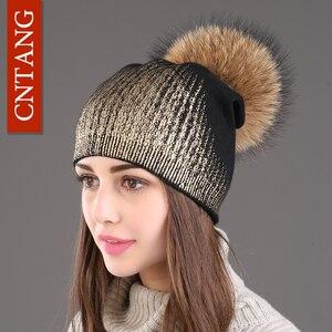 Image 3 - 2020 New Winter Beanies Ladies Knitted Wool Warm Hats Fashion Pom Pom Real Raccoon Fur Caps Skullies Hat For Women Print Fur Cap