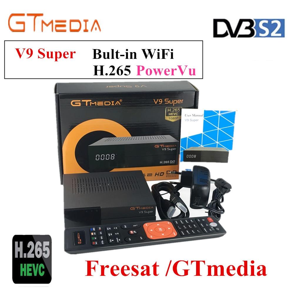 Récepteur Satellite Super DVB-S2 GTmedia V9 H.265 AC3 Cccam Newcamd freesat v8 super puissant vu biss boîtier décodeur WiFi