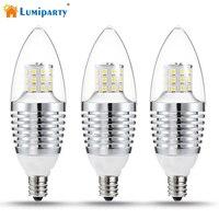 Lumiparty 3ชิ้นE12นำหลอดไฟหรี่แสงเทียนหลอดไฟ110โวลต์เทียบ
