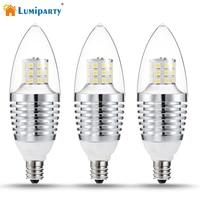 3Pcs 7W LED Light Bulbs Dimmable Candle Light Bulb E12 Base 110V Equivalent LED Bulbs Energy