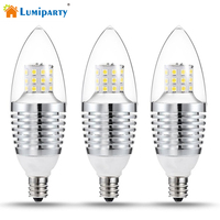 3Pcs 7W LED Light Bulbs Dimmable Candle Light Bulb E12 Base 110V Equivalent LED Bulbs Energy