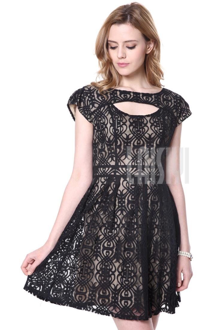 LAISIYI New Fashion 2017 Women dresses Mesh Geometric Embroider ... a20491d87233