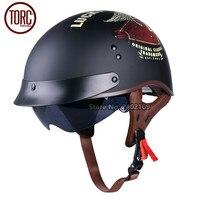 TORC Cruiser Motorcycle Helmet Harley Open Face Half Vintage Helmet T553 Moto Casque Casco Motocicleta Capacete