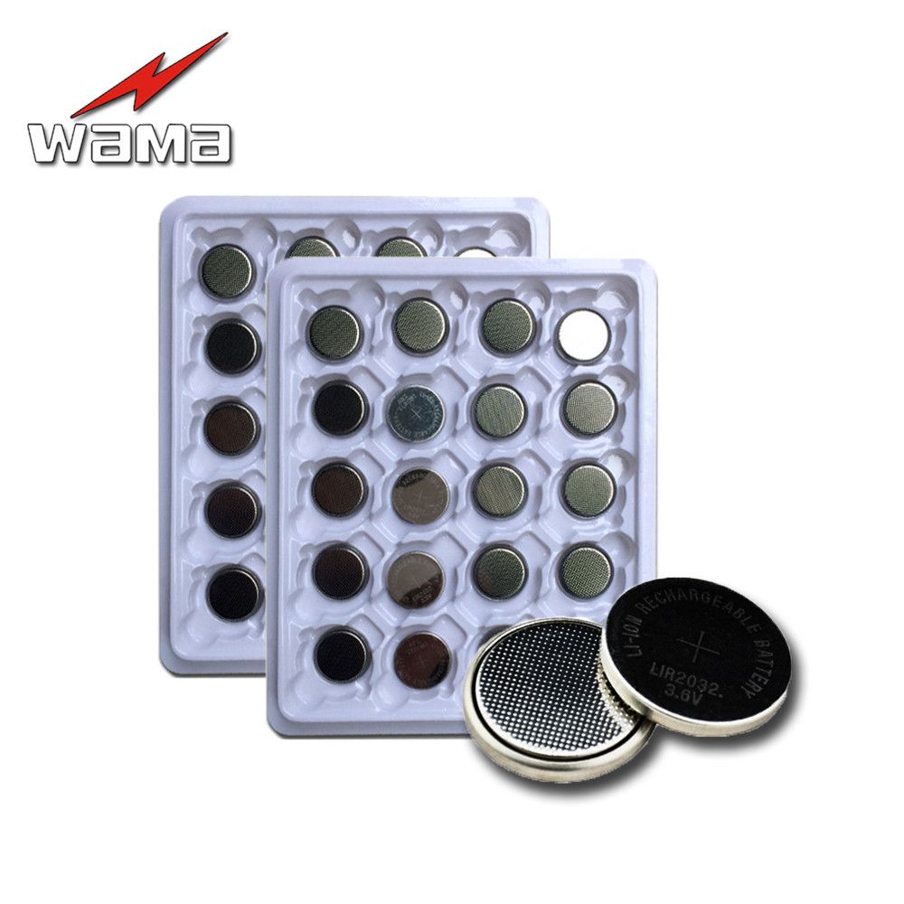 40pcs/2pack Wama LIR2032 Rechargeable Button Cell Batteries Lithium 40mAh 3.6V Coin Battery Replace for CR2032 New