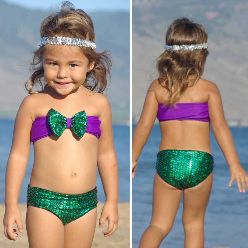 Girls Swimwear Mermaid 2017 Cute Bikini Sets Children Bathing Suit Girls Suspender Tops Shorts Kids Swimsuits Beach Wear Ds25 Set Children Suit Girlbikini Set Aliexpress
