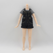 Blythe Doll Clothes Strap Jumpsuit T-shirt Combo