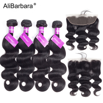 Peruvian Bady Wave 4 Bundles With Lace Frontal Closure AliBarbara Hair Weave Bundles Remy Human Hair Extension Free Shipping