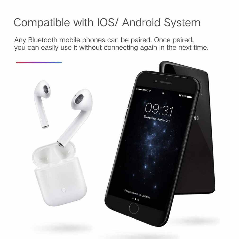 Prawda bezprzewodowe słuchawki stereo I9S TWS bezprzewodowe słuchawki Mini 5.0 Bluetooth zestaw słuchawkowy niewidoczne douszne dla wszystkich inteligentny telefon