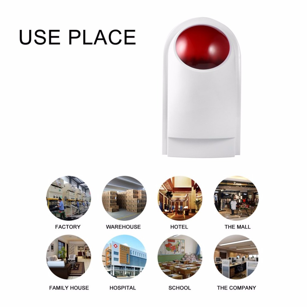 Outdoor Waterproof Wired Home Security Sound Light Strobe Siren Red Flashlight Horn Safety & Fire Alarm System CW32