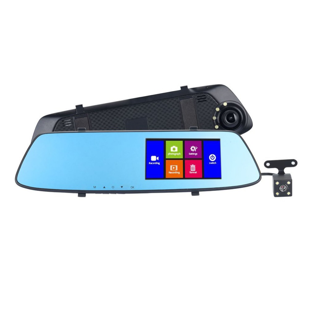 F12C Night Vision Vehicle Traveling Data Recorder Dual Lens 170-degree 1080P HD 5MP Car DVR 4.3-Inch Display Mirror Carcorder