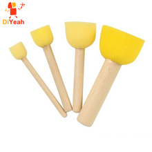 4pcs/set Wooden Handle Sponge Brush Art Supplies Makeup Kids Painting Face Painting Applicator DIY Doodle Stamps Tool Body Paint