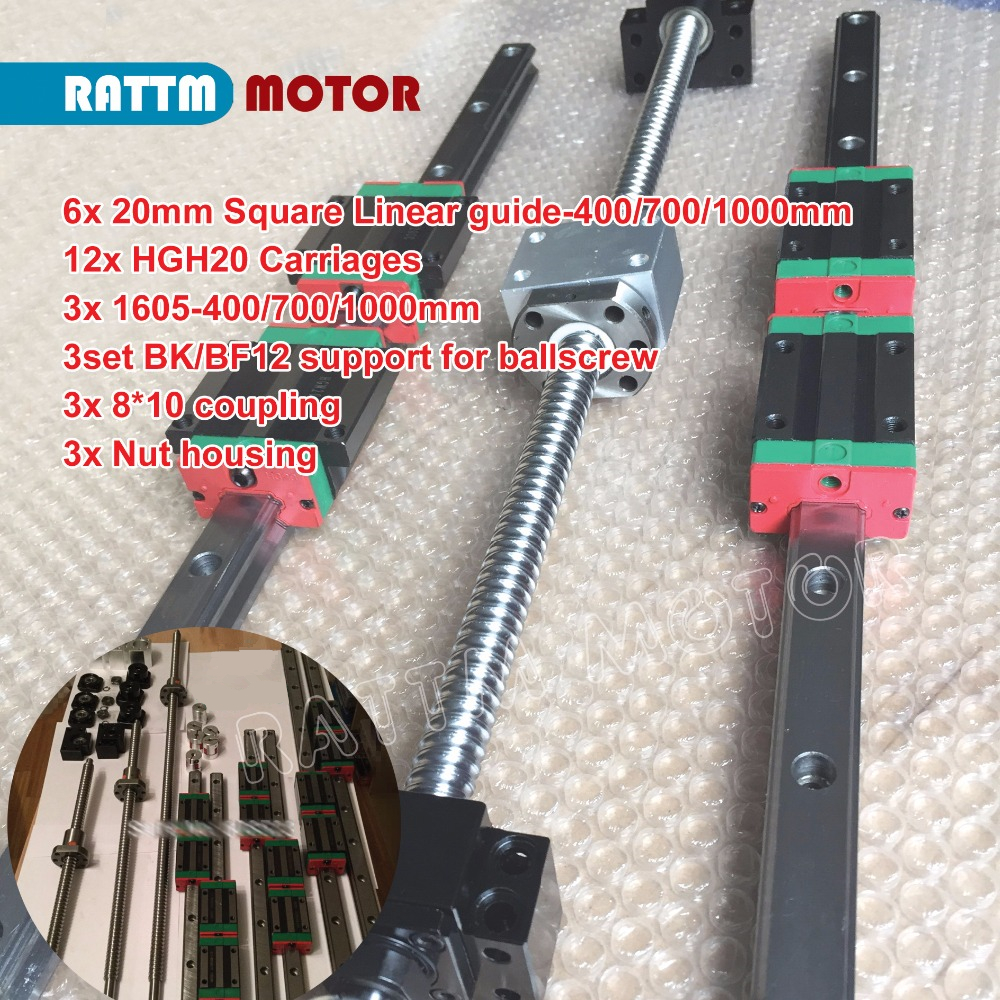 Image 4 - 3 sets Square Linear guide sets L 400/700/1000mm & 3pcs Ballscrew 1605 400/700/1000mm with Nut & 3set BK/B12 & Coupling for CNC-in Nut & Bolt Sets from Home Improvement