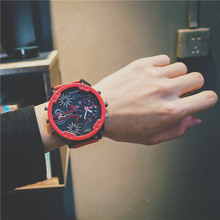 лучшая цена Big Dial Watch Men's Trend European American Creative D Style Same Dual-core Calendar Personality Atmosphere Mens Watch Dropship