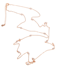 100% 925 sterling silver jewelry top quality winter long sweater chain cz station 85cm 102cm cz long chain necklace