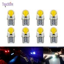 200 قطعة/الوحدة T10 W5W COB سيارة ضوء لوحة ترخيص القراءة الجانب ضوء مصباح لمبة DC 12V الأبيض الأزرق بالجملة
