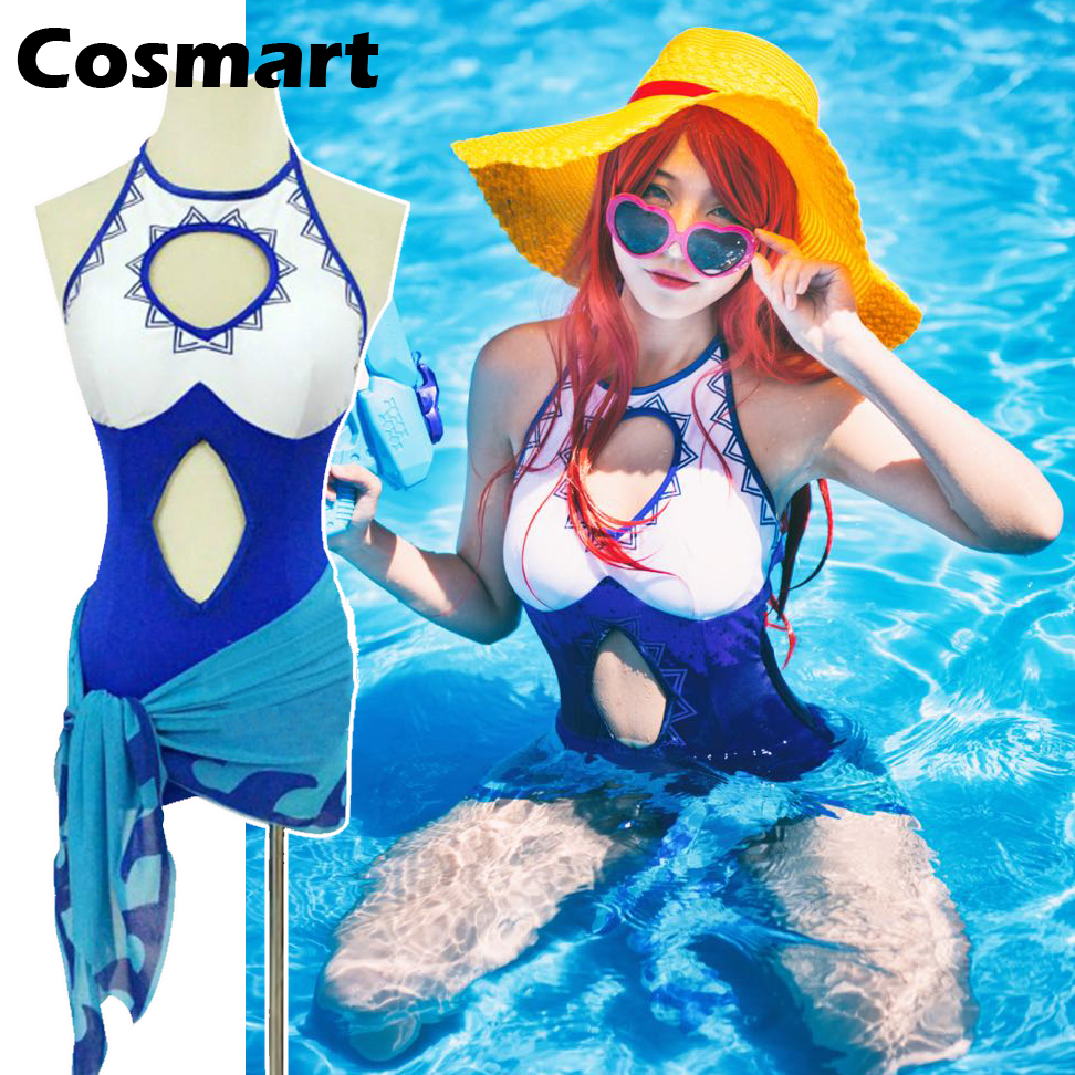 [Stock]Game LOL Swimming pool Party Miss Fortune cosplay Swimsuit One-piece set+ Waist scarf S-XL New 2018 free shipping