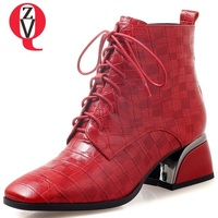 ZVQ 2018 winter new concise casual sheepskin cross tied zip women shoes med square heel genuine leather plaid warm ankle boots