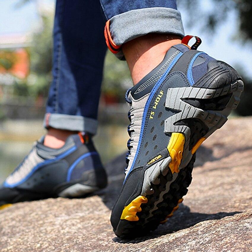 Hommes chaussures de randonnée en plein air imperméable respirant chasse chaussures de trekking marque en cuir véritable sport escalade chaussures de randonnée baskets - 6