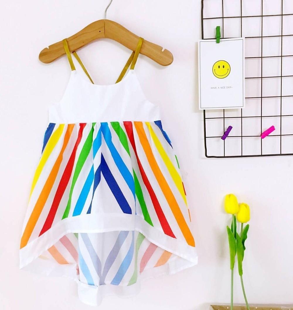 Dresses For Girls Summer Todder Baby Girls Dress Rainbow Beach Princess Girls Clothes Cotton Kids Girls Children Clothing 2018