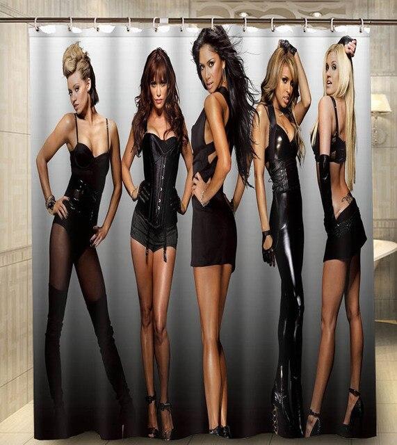 Hot Sales Polyester Pussycat Dolls Groups Pop Women Singers 140x180cm  Classical Custom Bath Shower Curtain Bathroom