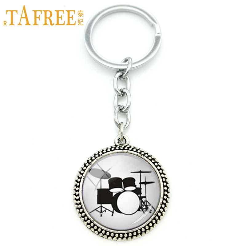TAFREE Vintage accessories music DJ Turner keychain DJ Mixer Drum photo glass cabochon Musician Birthday Gifts men jewelry KC595