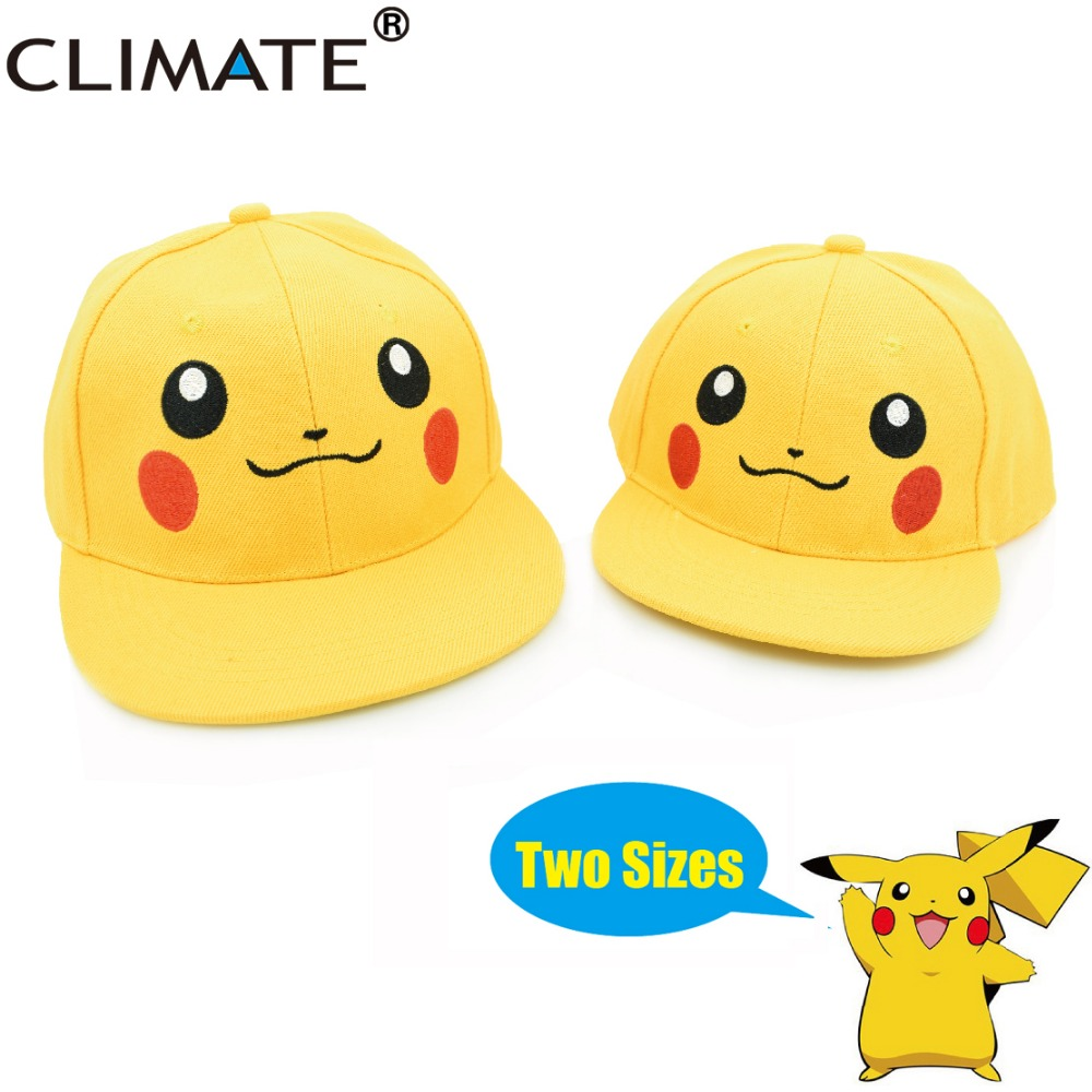 CLIMATE 2017 New Cartoon Comic Cute Pocket Monster GO Pikachu Snapback Caps Hat Adult Kid Child Mom Dad Family Yellow Cute Caps climate 2017 pocket monster go game pikachu flat snapback caps adult men women animation cartoon cute comic orange eevee hat cap