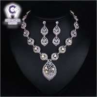 Fashion Luxury Discolor Rhinestone Drop Earrings Silver Plated Alloy Statement Maxi Choker Necklace Women Jewelry Sets