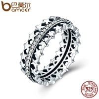 BAMOER Authentic 925 Sterling Silver Star Trail Statement Ring For Women Engagement S925 Silver Exaggerate Jewelry SCR049