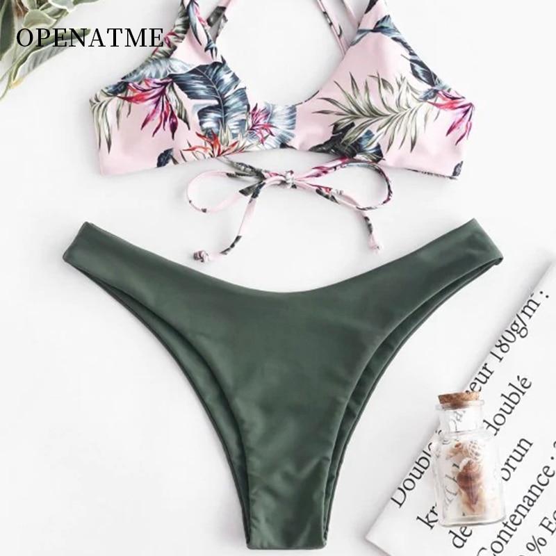 OPENATME 2019 summer new swimsuit sexy ladies print low waist pants bikini flower split Fit the chest