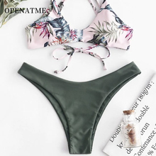 OPENATME 2019 summer new swimsuit sexy ladies print low waist pants bikini flower split Fit the chest