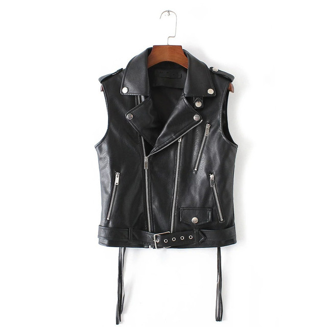Sexy Women Leather Vest Jacket Short Sleeveless Pu Suede Vests Fashion Pocket Chains Black Waistcoat Outwear Winter ow0213